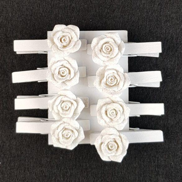 Rózsás csipesz, fehér (8 darab/csomag)