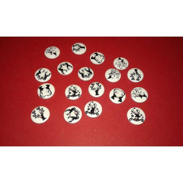 Fagomb szarvas mintával, 15 mm, 50db/csomag