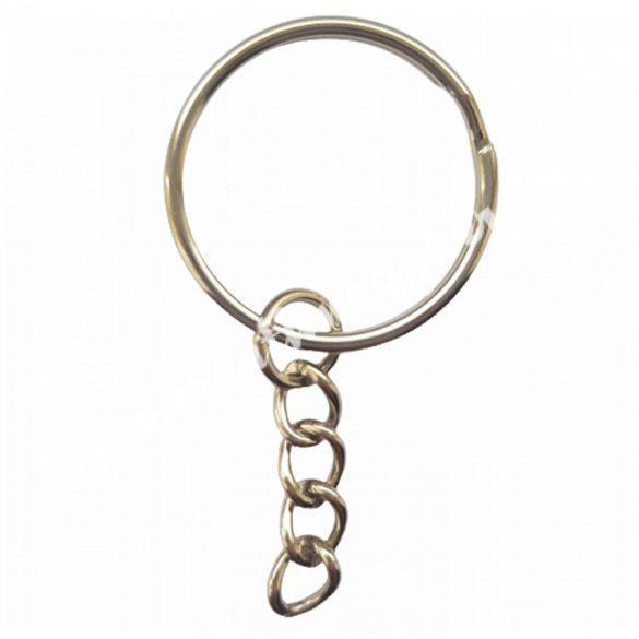 Kulcstartó alap, platina, sima szélű, 25 mm, 50 db/csomag