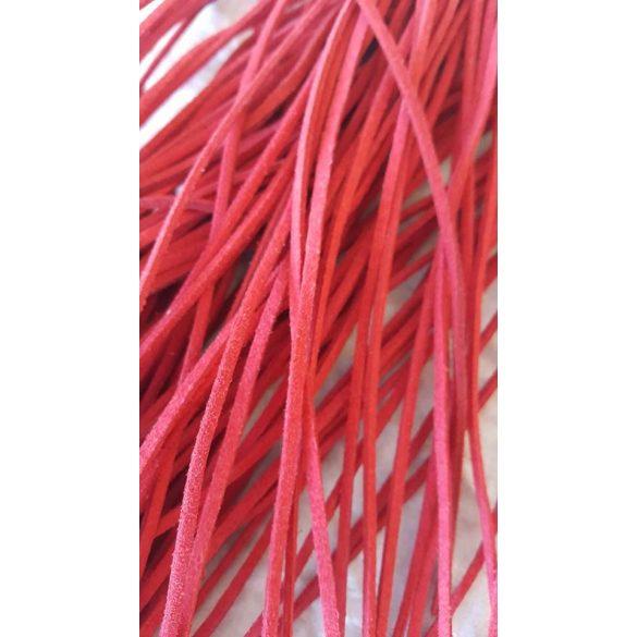 Szintetikus bőrszál, 2mmx75cm, piros, 50 szál/köteg