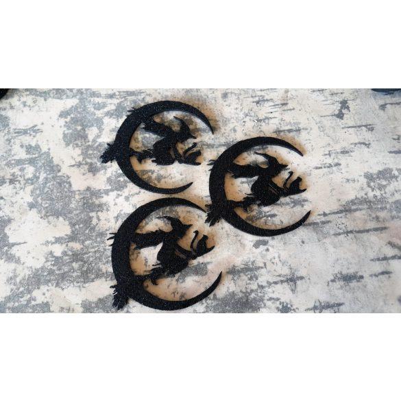 Boszorkány Holddal, flitteres dekorgumi, 10 darab/ csomag