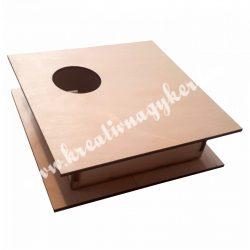 Dekor alap, fadoboz kivágott körrel, asszimetrikus, 18x5 cm