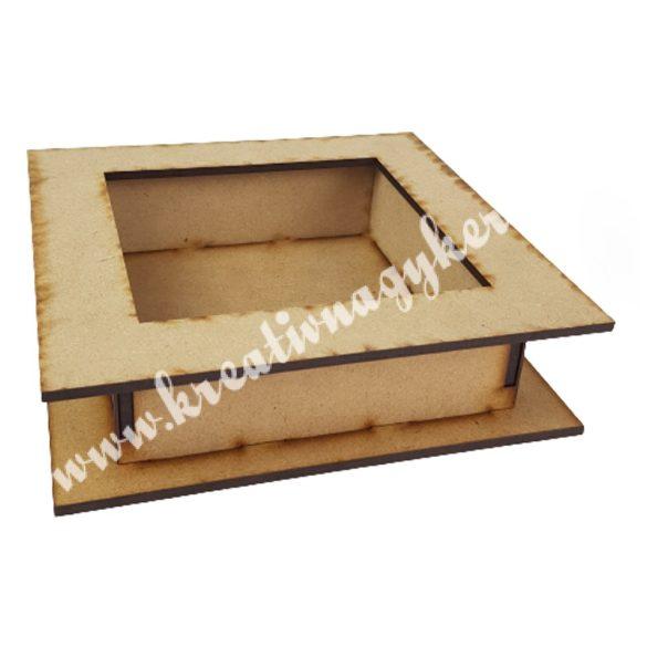 Dekor alap, fadoboz kivágott négyzettel, 18x5 cm