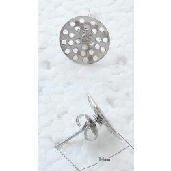 Fülbevaló alap, stiftes, fűzhető, 14x14mm, stifttel, 20 db/csomag