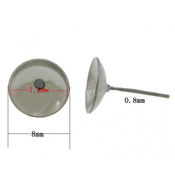 Fülbevaló alap, stiftes, 304-es acél, 8mm, 20 db/csomag