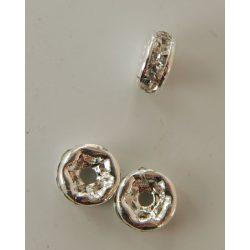 Rondella, 4mm, 6 strasszal, ezüst színű, 25 db/csomag