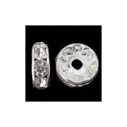 Rondella, 6mm, 6 strasszal, ezüst színű, 20 db/csomag