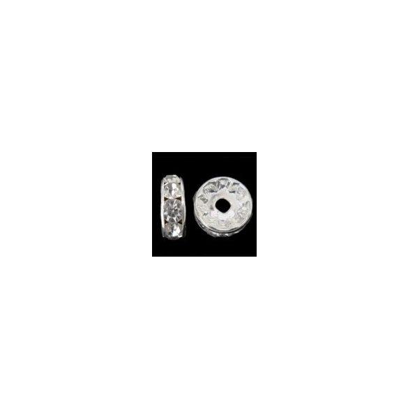 Rondella, 7mm, 6 strasszal, ezüst színű, 20 db/csomag