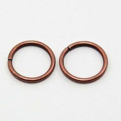 Szerelőkarika, 5mm, antik bronz színű, 100 db/csomag