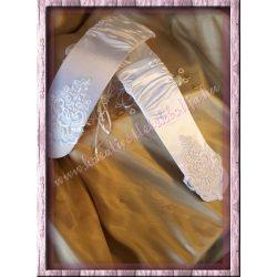 Hímzett, gyöngyös, szatén kesztyű, 1 pár/csomag