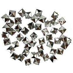 Fémszegecs, piramis, 10mm, platina, 50 db/csomag