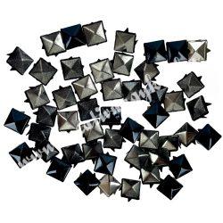 Fémszegecs, piramis, 9mm, fekete, 50 db/csomag
