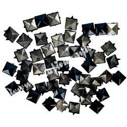 Fémszegecs, piramis, 9 mm, fekete, 50 db/csomag