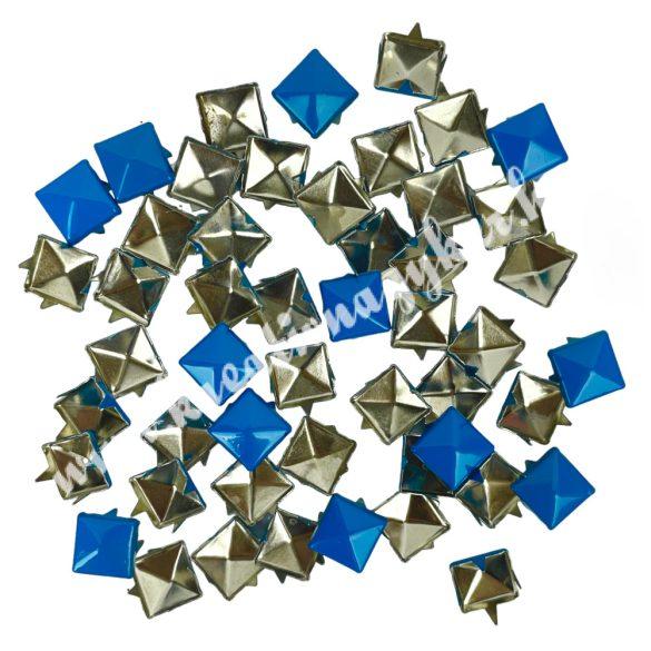 Fémszegecs, piramis, 9 mm, kék, 50 db/csomag