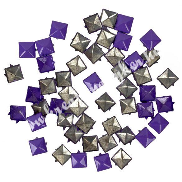 Fémszegecs, piramis, 9mm, lila, 50 db/csomag