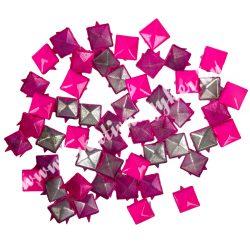 Fémszegecs, piramis, 9mm, pink, 50 db/csomag