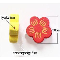 Fűzhető fa virág, 20x20x6mm, vegyes szín, 100 g/csomag