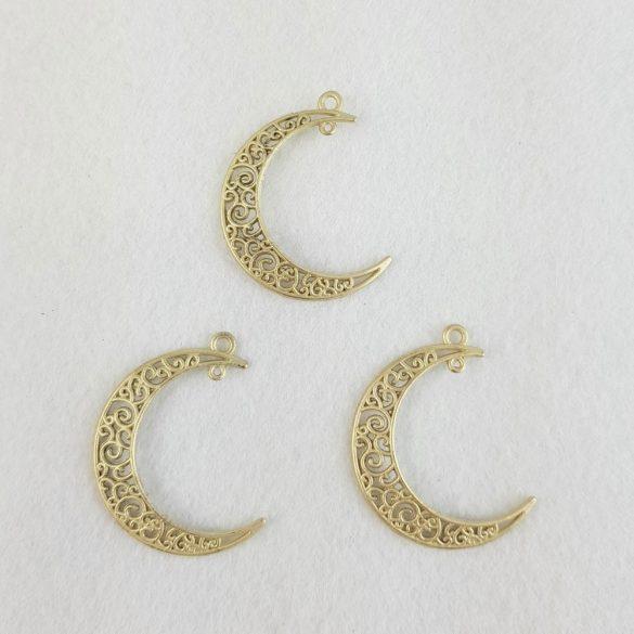 Fémmedál, Hold, arany színű, 4,1x3,3 cm 5 db/csomag