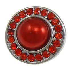 Fémpatent, 20 strasszal és 1 gyönggyel, 19x19x10,5mm. piros, db