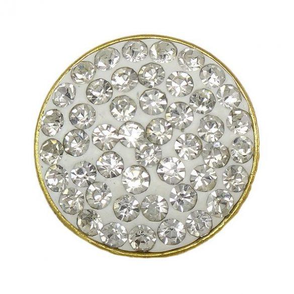 Fémpatent, 50 strasszal, 20,5x8,5mm, crystal, db