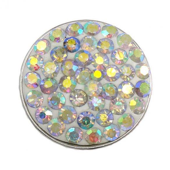 Fémpatent, 50 strasszal, 20,5x8,5mm, crystal AB, db