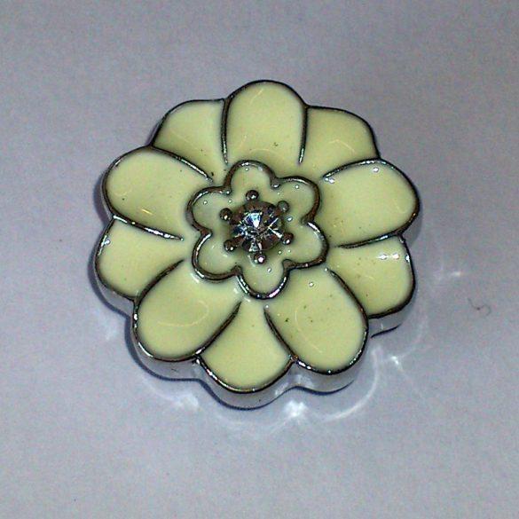 Fémpatent, strasszal, virág, 21X21X7,5mm, db