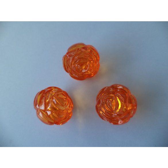 Fűzhető műanyag rózsa, 17x17mm, narancs, 25 db/csomag