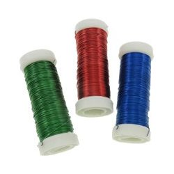 Gyöngyfűző drót, színes, 0,37mm, 6 féle szín, 6db/csomag