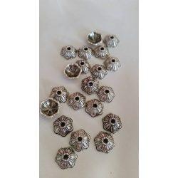 Gyöngykalap, 10x10 mm, antik ezüst, 50 db/ csomag