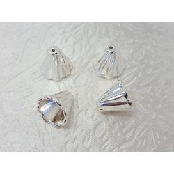 Gyöngykalap 12x13mm, 10db/csomag, ezüst szín