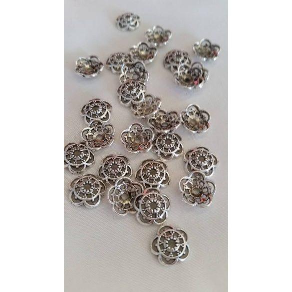 Gyöngykalap, áttört,10x10 mm, antik ezüst, 50 db/ csomag