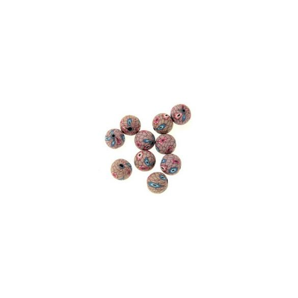 Gyurmagyöngy, 12mm, barna, 10db/csomag
