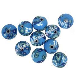 Gyurmagyöngy, 12mm, kék, 10db/csomag