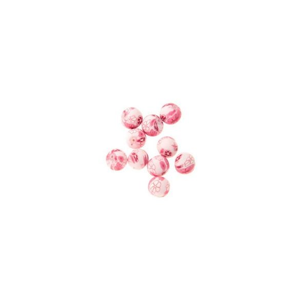 Gyurmagyöngy, 12mm, rózsaszín, 10db/csomag