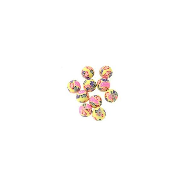 Gyurmagyöngy, 12mm, sárga-pink, 10db/csomag