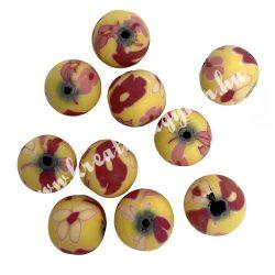Gyurmagyöngy, 12mm, sárga-piros, 10db/csomag
