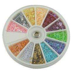 Flitter mix, csillag, 12 féle szín, 1 doboz