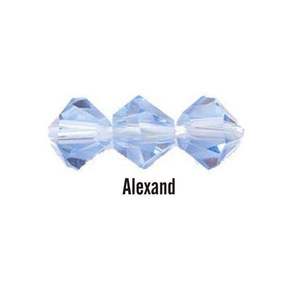 Kúpos kristálygyöngy, 3mm, alexand, 100 db/csomag