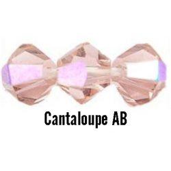 Kúpos kristálygyöngy, 3mm, cantaloupe AB, 100 db/csomag