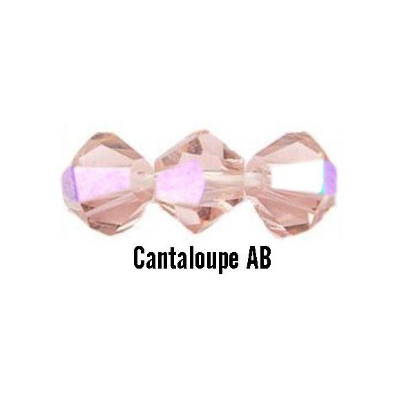Kúpos kristálygyöngy, 4mm, cantaloupe AB, 100 db/csomag