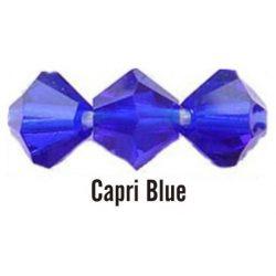 Kúpos kristálygyöngy, 4mm, capri blue, 100 db/csomag