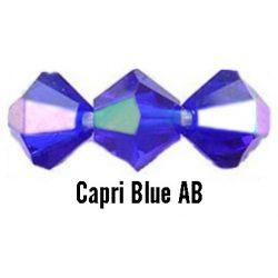 Kúpos kristálygyöngy, 3mm, capri blue AB, 100 db/csomag