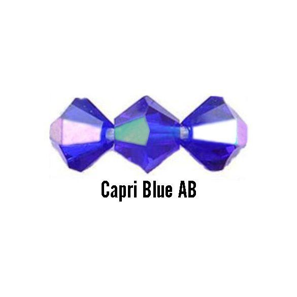 Kúpos kristálygyöngy, 4mm, capri blue AB, 100 db/csomag