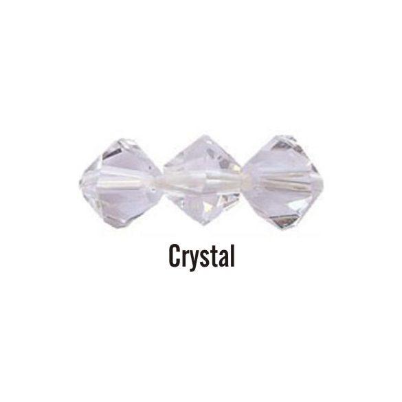 Kúpos kristálygyöngy, 3mm, crystal, 100 db/csomag