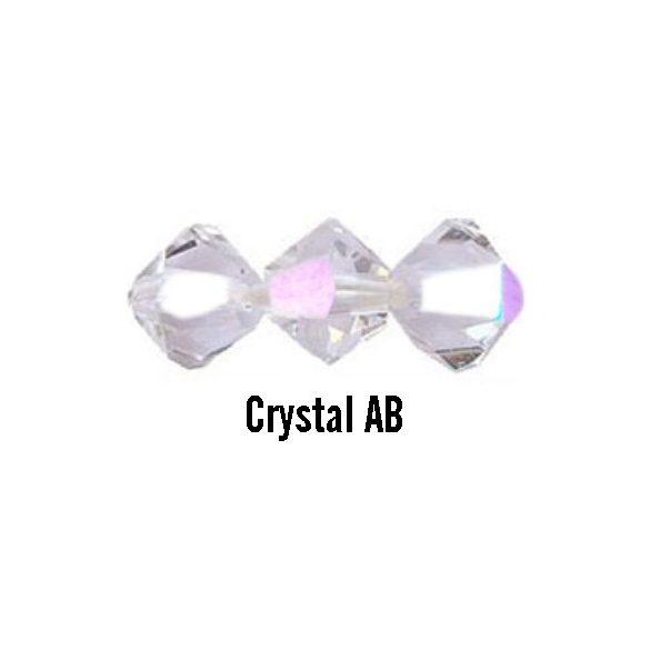 Kúpos kristálygyöngy, 3mm, crystal AB, 100 db/csomag