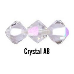 Kúpos kristálygyöngy, 4mm, crystal AB, 100 db/csomag