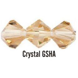 Kúpos kristálygyöngy, 3mm, crystal gsha, 100 db/csomag