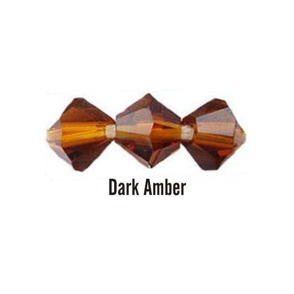 Kúpos kristálygyöngy, 3mm, dark amber, 100 db/csomag