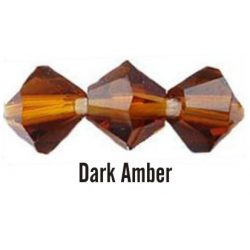 Kúpos kristálygyöngy, 4mm, dark amber, 100 db/csomag