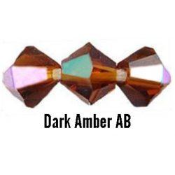 Kúpos kristálygyöngy, 3mm, dark amber AB, 100 db/csomag